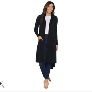 H by Halston black open front cardigan